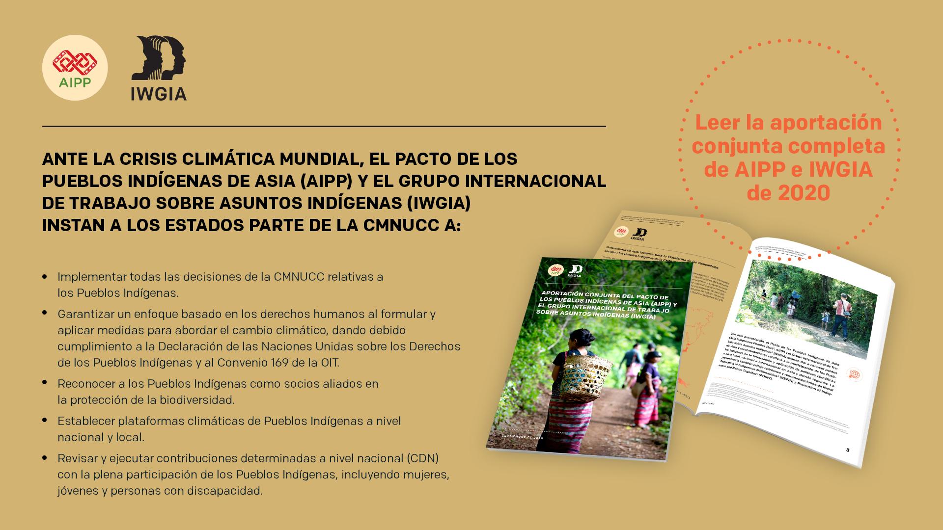 IWGIA y AIPP envían una declaración a la CMNUCC
